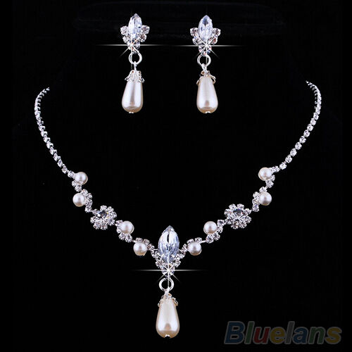 Bridal Super Glamor Wedding Faux Pearls Rhinestone Necklace Earrings Jewelry Set