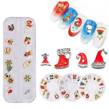 12pcs 3D Christmas Nail Art Decoration Alloy Jewelry Glitter Rhinestones Wheel
