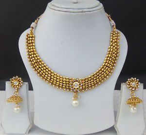 baf360a7e24ad Details about Ethnic Indian Fashion Jewelry Bollywood Golden Pearl Polki  Necklace Earrings Set