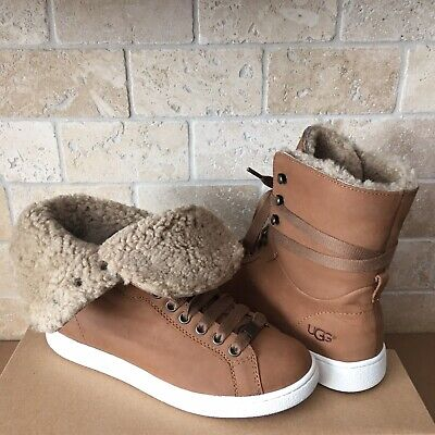 047eece54e2 UGG STARLYN CHESTNUT LEATHER FUR HI-TOP SHOES SNEAKERS ANKLE BOOT SIZE 10  WOMENS | eBay