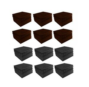 Acoustic-Foam-96-Combo-Pack-Brown-Charcoal-Gray-Pyramid-Studio-12x12x1-tiles