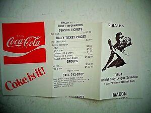 1984-Macon-GA-Pirates-Minor-Baseball-Schedule-Pittsburgh-Affiliate-Coke-Sally