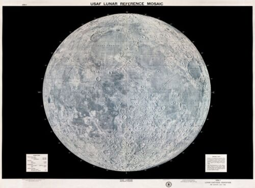 MP20 Vintage 1960/'s USAF Lunar Moon Map Poster Re-Print A1 A2 A3