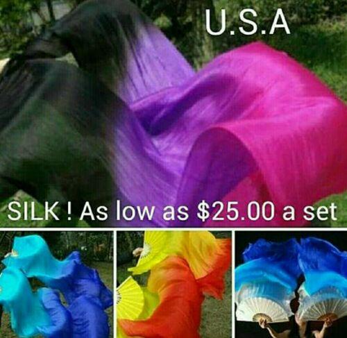 Silk Fan Veils Belly Dance 100/% Silk Quick Ship USA Store       FREE GIFT