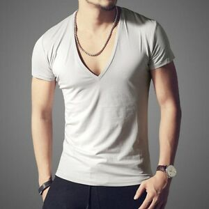 Sexy Men S Summer Deep V Neck Slim Fit Short Sleeve Cotton Casual T Shirts Tops Ebay