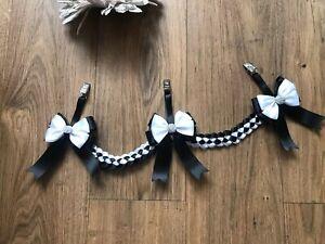 Beautiful  3 clip bow Pram charm Boy Grey Romany bling personalised circle beads