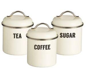 typhoon living retro cream tea coffee sugar storage tins. Black Bedroom Furniture Sets. Home Design Ideas
