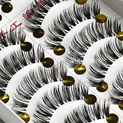 10 Pairs Long Cross Natural False Eyelashes Fake Lashes Makeup