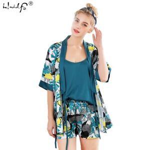 Women-039-s-3-pieces-Pajamas-Sets-Satin-Silk-Lingerie-Homewear-Sleepwear-Summer-Pj
