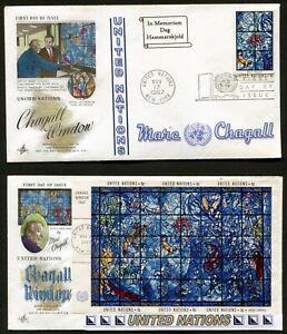 - Onu New York 179-80 > Chagall Fenêtre > 2 Hand-tinted Artcraft & Enhanced Cachet >-afficher Le Titre D'origine Bon Pour L'éNergie Et La Rate