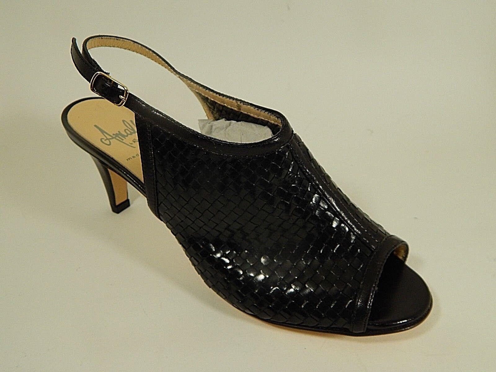 Amalfi Black woven Leather Heels Sandals Mules Slingback Open Toe 7 M