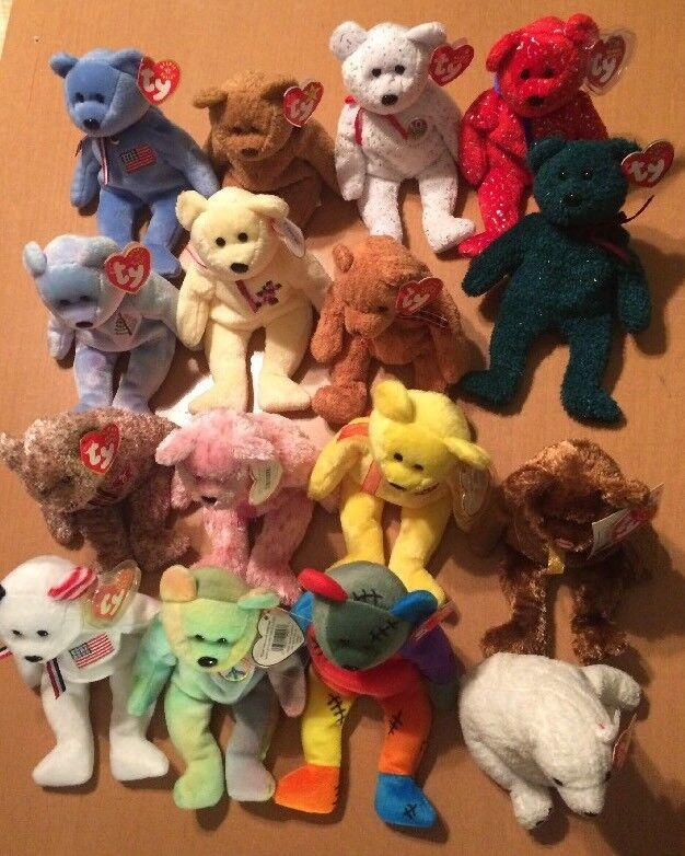 16 Ty Beanie Babies Plush Bears