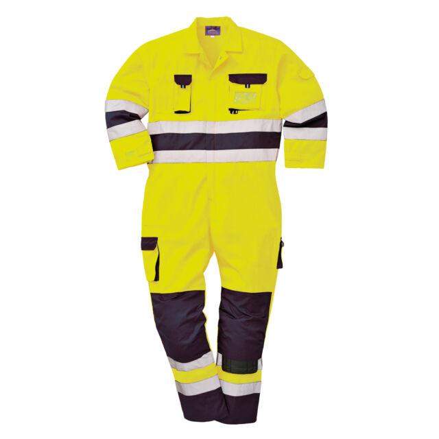 Portwest Hi Vis Men Texo Nantes Gigh Viz Coverall Overall Knee Pad Pockets TX55