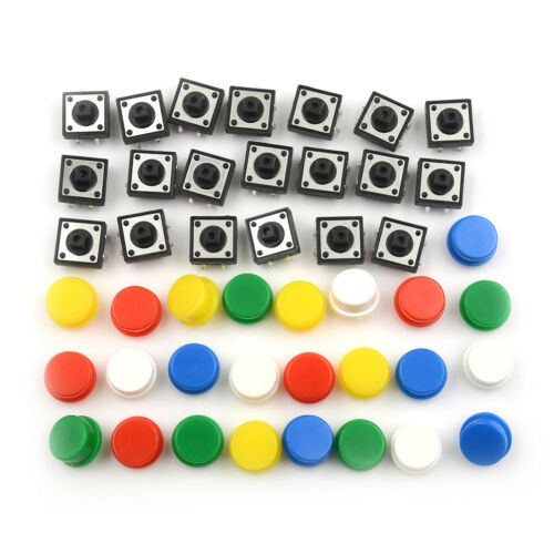 20Sets Momentary Tactile Push Button Touch Micro Switch 4P PCB Caps 12x12x7.3 El