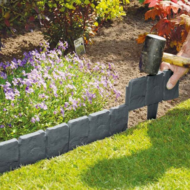 10 Pack Grey Cobbled Stone Effect Plastic Garden Lawn Edging Plant Border
