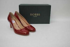 HOBBS-Ladies-New-Deep-Red-Patent-Leather-Sophia-Court-Shoes-EU38-UK5-NEW