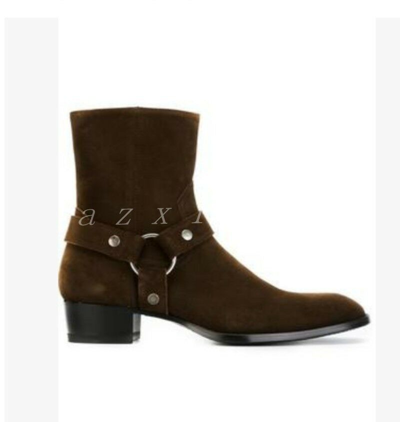 New Mens Suede Zipper Combat Ankle Boots Buckle Round Toe Low Heels Shoes Bootie