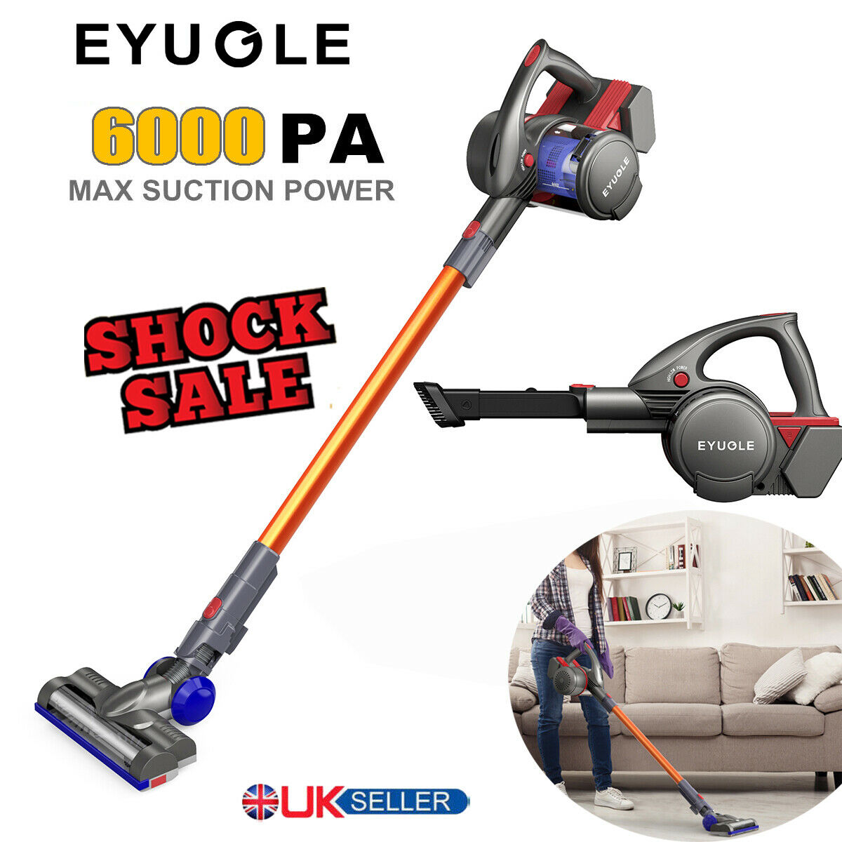 Eyugle 22.2 V 6000 Pa sans fil Hoover VERTICAL 2 en 1 Handheld Baton Aspirateur
