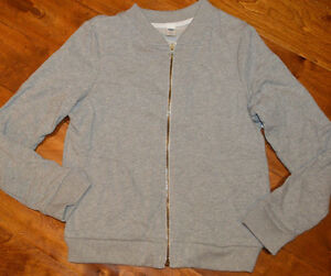 Boy's Old Navy Gray Full Zip Varsity Fleece Sweater Sizes 5, 8, 14