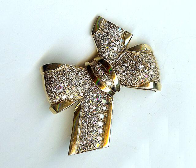 VINTAGE 14KT. GOLD DIAMOND BOW PIN