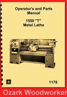 Jet, Enco, Msc, Asian 1550 T Metal Lathe Instructions & Parts Manual 1178