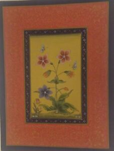 Logical Miniature Painting Flower Floral Paper Art Handmade Indian Mounted Mb73pp Various Styles Paintings