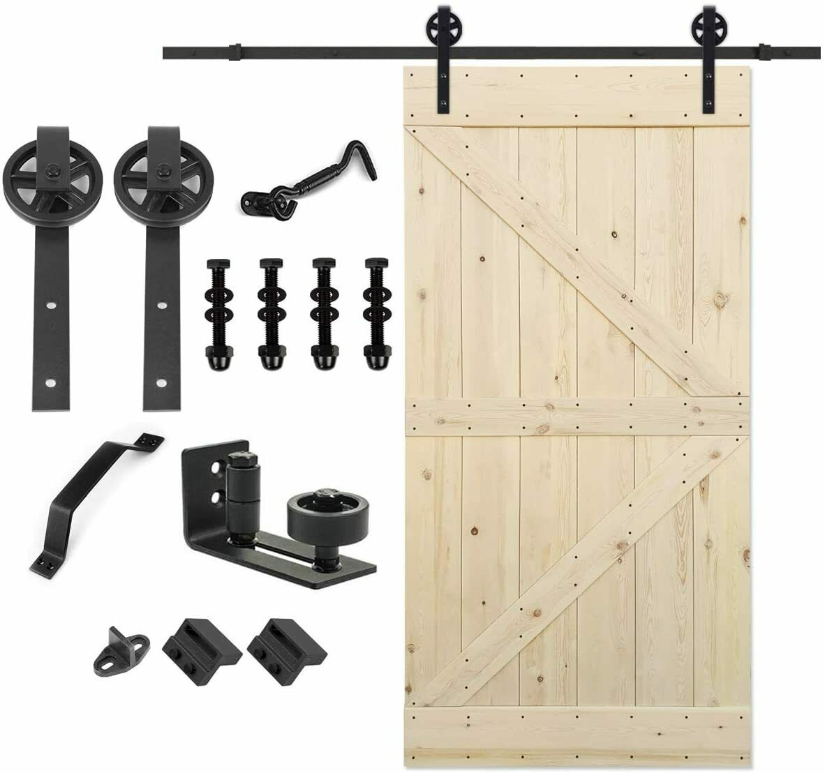 Paneled Wood Unfinished Barn Door With Installation Hardware Kit For Sale Online Ebay