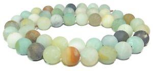 Amazonit-multicolor-10-mm-Kugeln-seidenmatt-Edelstein-Perlen-Strang