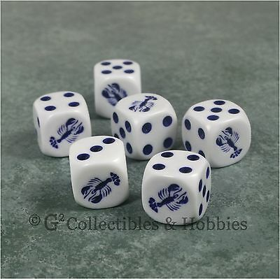NEW Set of 6 White Dice w// Red Lobster Six Sided RPG D/&D Bunco Game Animal D6