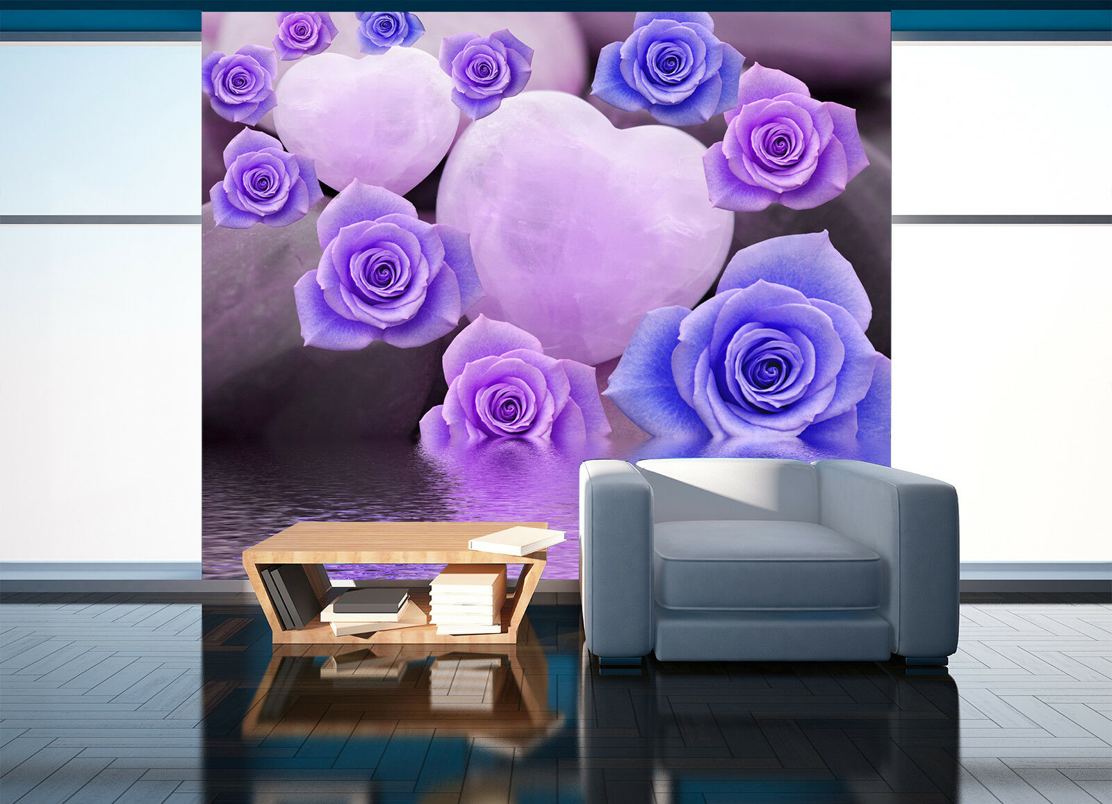 3D Warme Blaumen Herzförmig 8946 Tapete Wandgemälde Tapeten Bild Familie DE Jenny