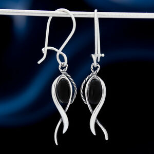 Onyx-Silber-925-Ohrringe-Damen-Schmuck-Sterlingsilber-H513