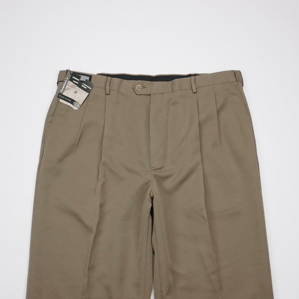 SAVANE Comfort Waist No Stain Pleated Cuffed Dress Pants Taupe Mens 40x30 NWT