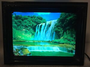 Vtg Motion Light Moving Waterfall Scenic Sound Light Up Decor