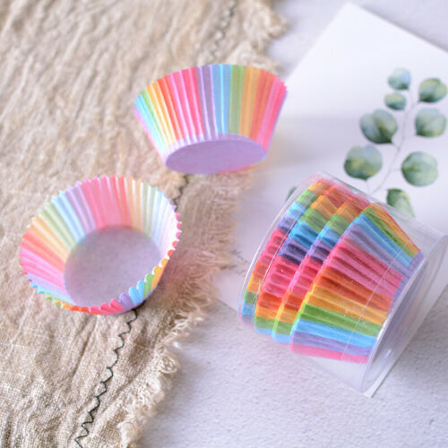 100x Colorful Rainbow Paper Baking Muffin Cups Cake Cupcake Liners Cup Mold