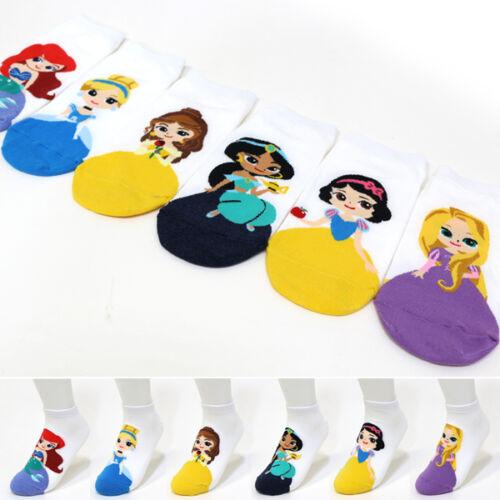 6 Pairs New Princess Friends Character Socks Women Girl Funny Cute Cartoon Socks