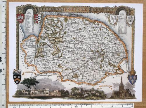 """Old Antique colour map Norfolk 9.5/"""" x 12/"""" Reprint c1830/'s Moule England"""