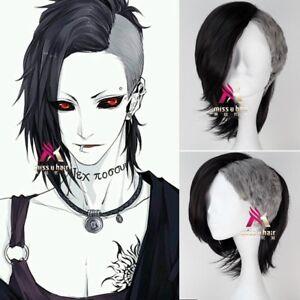 Tokyo-Ghoul-Uta-Mask-Maker-Wig-Short-Straight-Black-n-Silvery-Anime-Cosplay-Wig