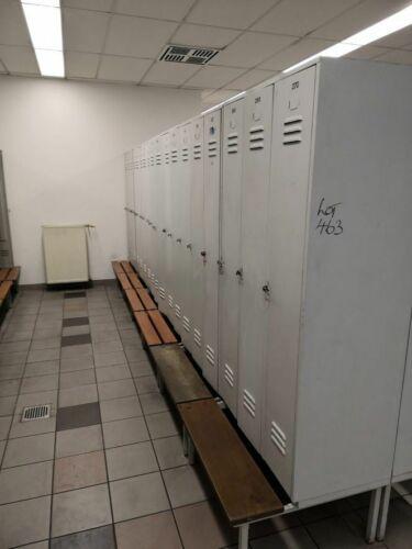 3er Garderobenschrank Umkleideschrank Spind Metallschrank Sitzbank 90x80x210cm