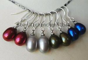 weiß Perle ohrringe echt 7-8mm blau schwarz rot grün braun gelb