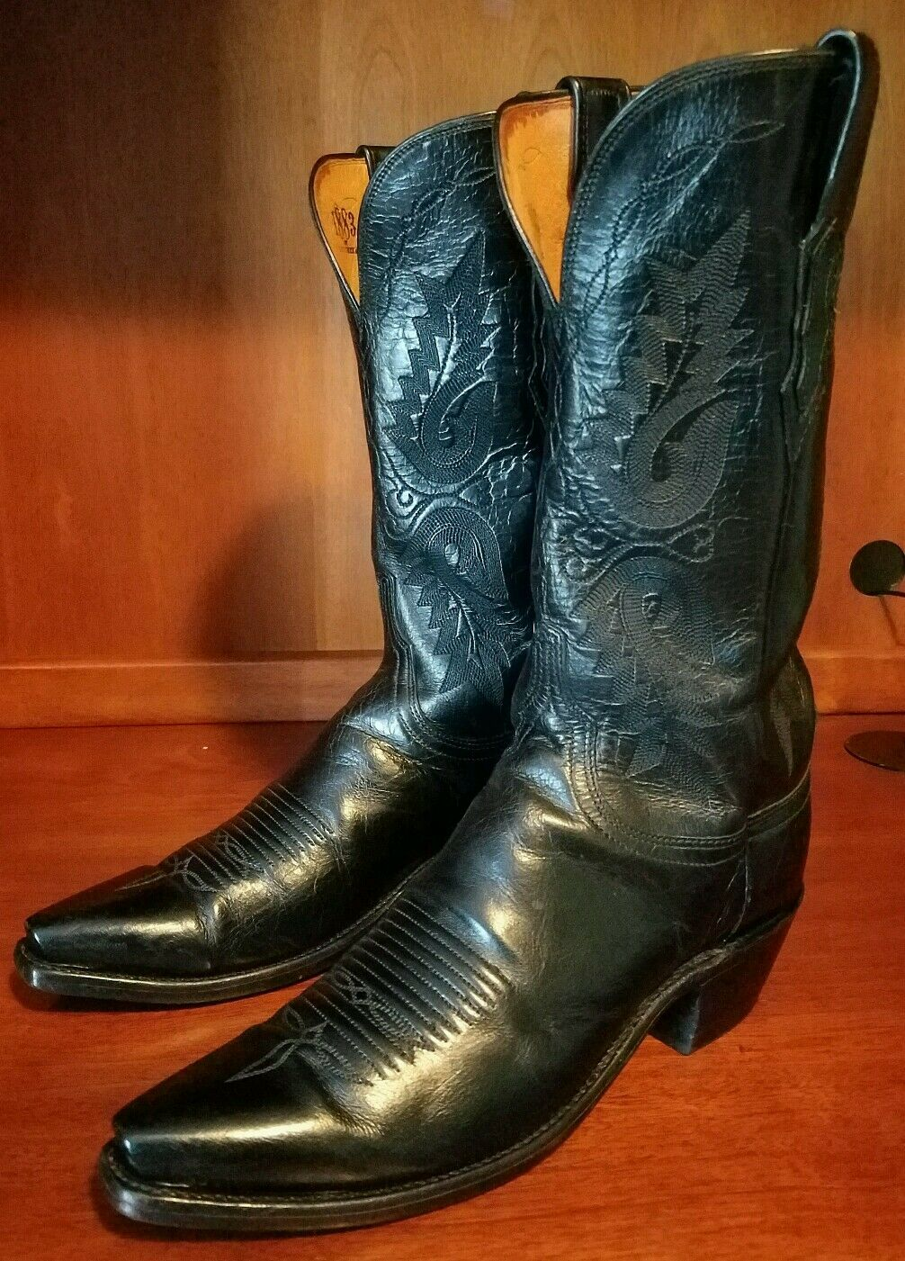 Women Lucchese 1883 Black Calf Leather Snip Toe Boots Size 9 B **Style N 4501