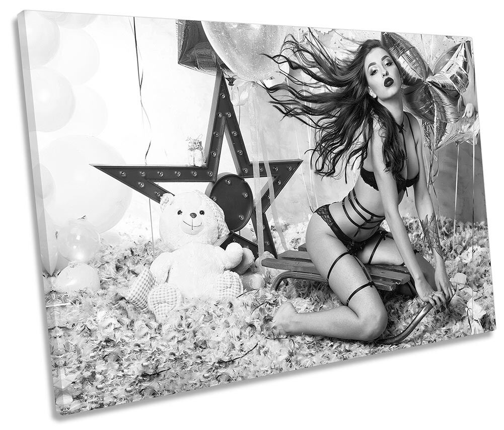 Sexy Erotic Girl Party Party Party Beauty Framed SINGLE CANVAS PRINT Wall Art 0ea03f