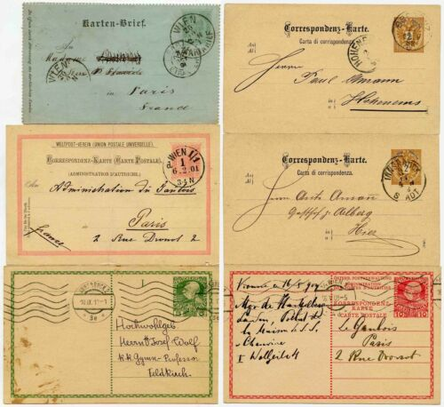 AUSTRIA EARLY POSTAL STATIONERY 6 CARDS 18881910 FINE USED inc LETTERCARD