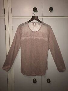John East Xs Linen Lace Size Sleeve Long 12 Lewis Pink Dusky Jumper Top 10 TFOdrF