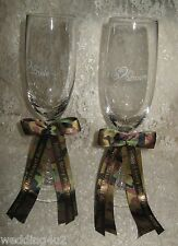 REDNECK BUCK DEER HUNTER  MESSAGE CAMO BOWS ETCHED TOASTING GLASSES