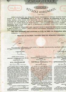 Ungarische-Allgemeine-Sparcassa-AG-Budatest-1925-200-Kronen-VF-s-scan