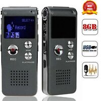 Digital Audio Voice Recorder Rechargeable Dictaphone Telephone MP3 Player 8GB