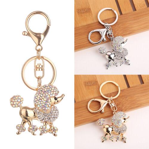 Strass Hund Schlüsselanhänger Taschenanhänger Metall welpe Key chain Neu