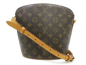 Authentic Louis Vuitton Monogram Drouot m51290 Schultertasche PVC Leder 93086