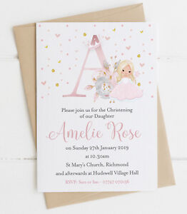 10 Fairy Princess Initial Christening Baptism Invitations With