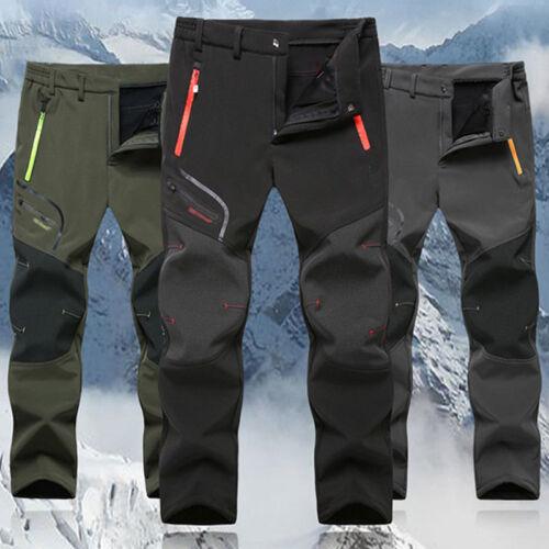 UK Men Thick Fleece Thermal Trousers Tactical Waterproof Cargo Combat Work Pants